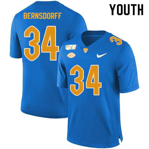 2019 Youth #34 Mark Bernsdorff Pitt Panthers College Football Jerseys Sale-Royal