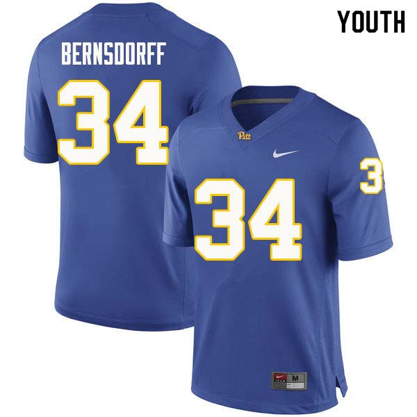 Youth #34 Mark Bernsdorff Pittsburgh Panthers College Football Jerseys Sale-Royal