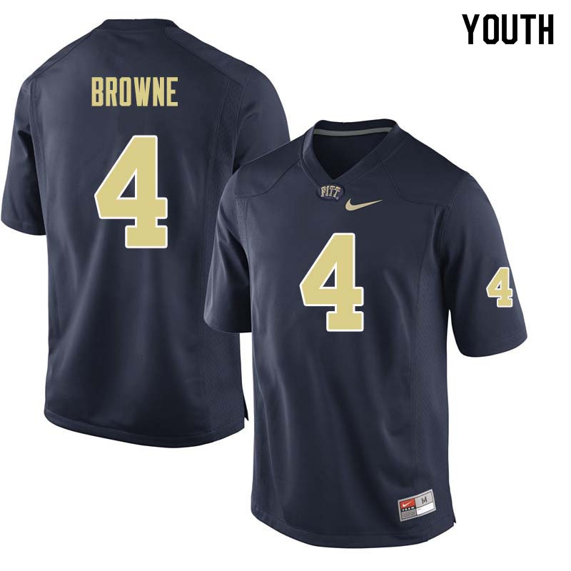 Youth #4 Max Browne Pittsburgh Panthers College Football Jerseys Sale-Navy
