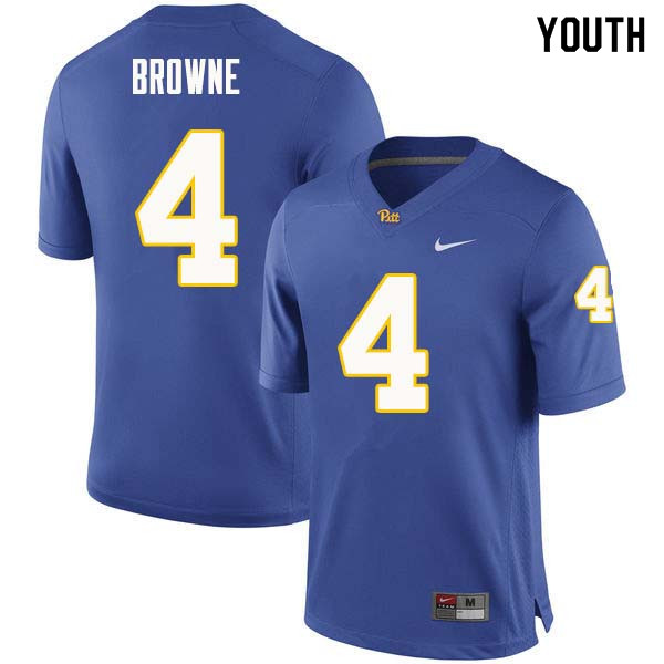 Youth #4 Max Browne Pittsburgh Panthers College Football Jerseys Sale-Royal