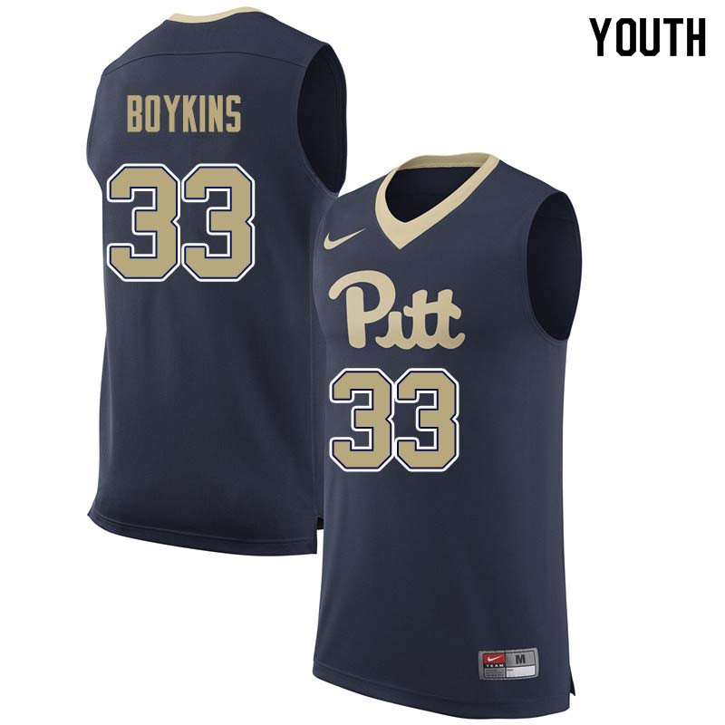 Youth #33 Monty Boykins Pittsburgh Panthers College Basketball Jerseys Sale-Navy