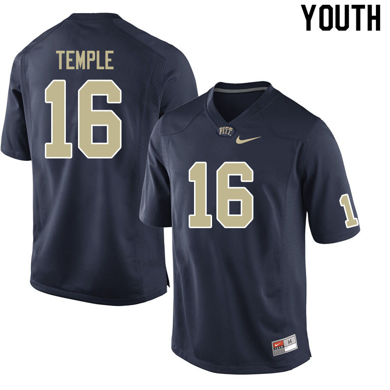 Youth #16 Nate Temple Pitt Panthers College Football Jerseys Sale-Navy