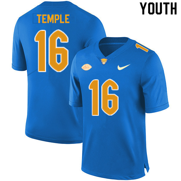 Youth #16 Nate Temple Pitt Panthers College Football Jerseys Sale-New Royal