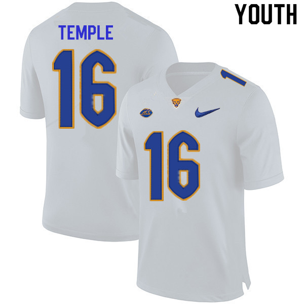 Youth #16 Nate Temple Pitt Panthers College Football Jerseys Sale-White