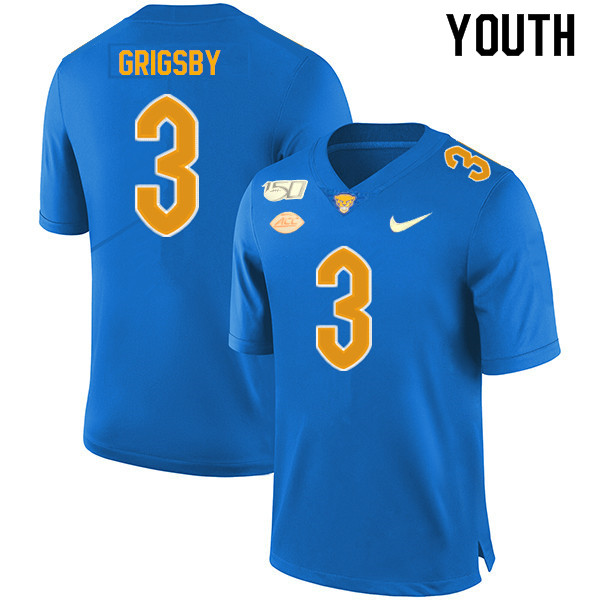 2019 Youth #3 Nicholas Grigsby Pitt Panthers College Football Jerseys Sale-Royal