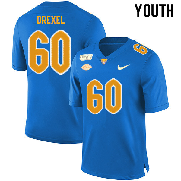 2019 Youth #60 Owen Drexel Pitt Panthers College Football Jerseys Sale-Royal