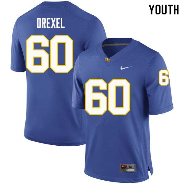 Youth #60 Owen Drexel Pittsburgh Panthers College Football Jerseys Sale-Royal