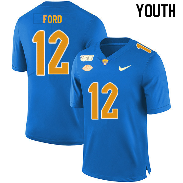 2019 Youth #12 Paris Ford Pitt Panthers College Football Jerseys Sale-Royal