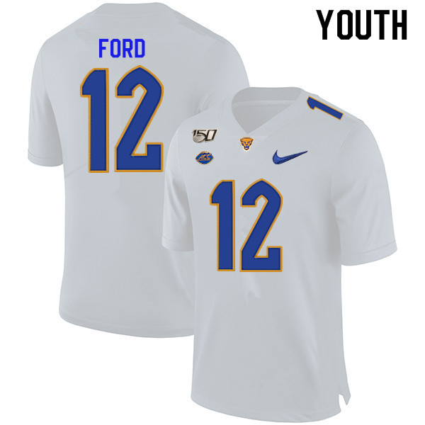 2019 Youth #12 Paris Ford Pitt Panthers College Football Jerseys Sale-White