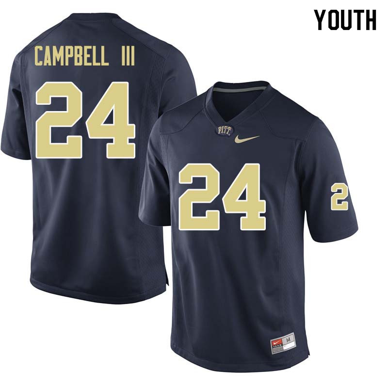 Youth #24 Phil Campbell III Pittsburgh Panthers College Football Jerseys Sale-Navy