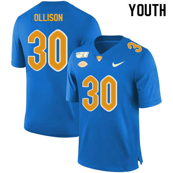 2019 Youth #30 Qadree Ollison Pitt Panthers College Football Jerseys Sale-Royal