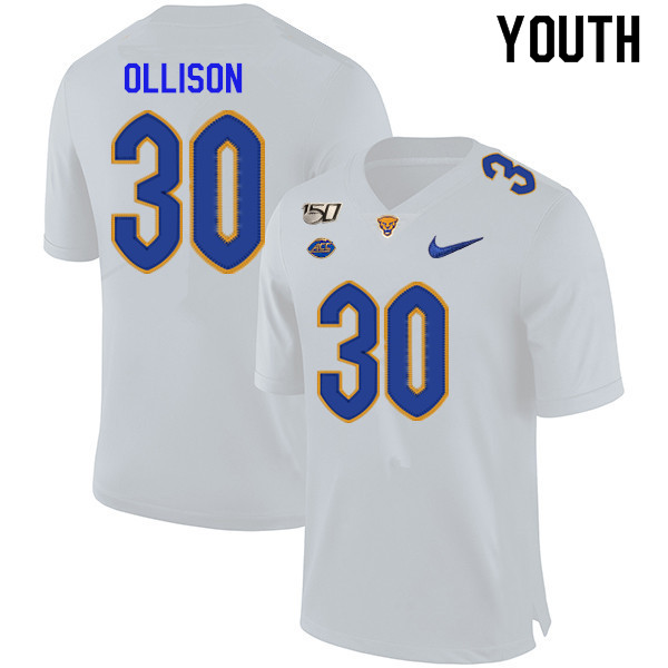 2019 Youth #30 Qadree Ollison Pitt Panthers College Football Jerseys Sale-White
