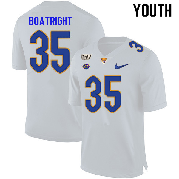 2019 Youth #35 Rob Boatright Pitt Panthers College Football Jerseys Sale-White