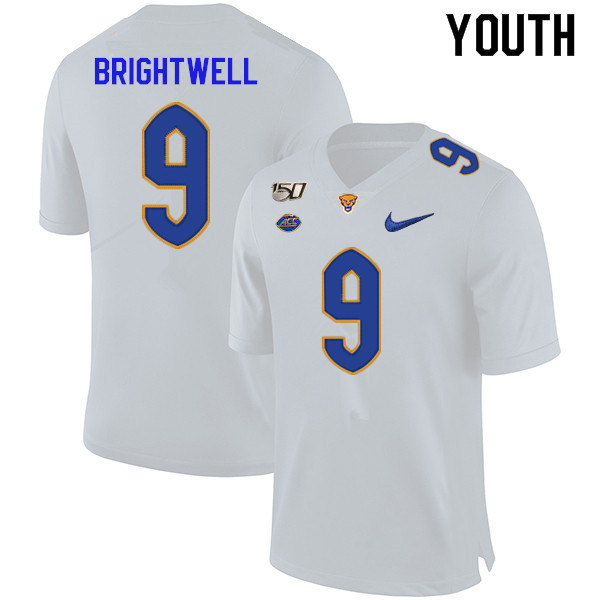 2019 Youth #9 Saleem Brightwell Pitt Panthers College Football Jerseys Sale-White