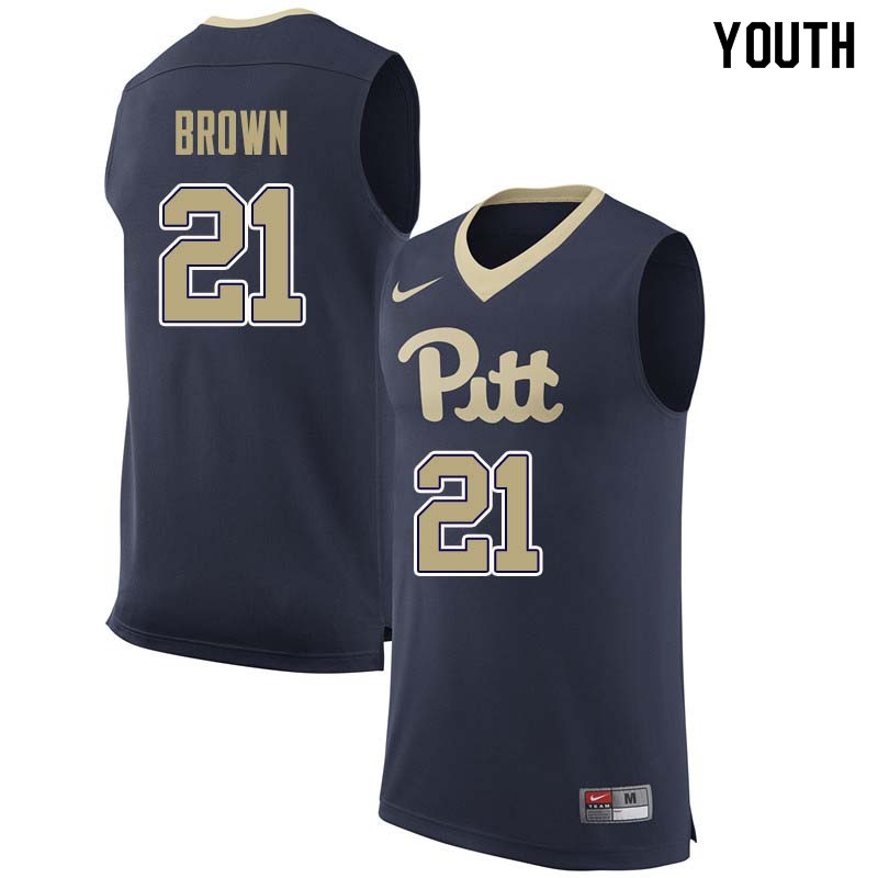 Youth #21 Terrell Brown Pittsburgh Panthers College Basketball Jerseys Sale-Navy