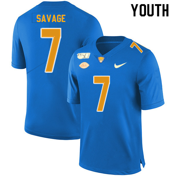 2019 Youth #7 Tom Savage Pitt Panthers College Football Jerseys Sale-Royal