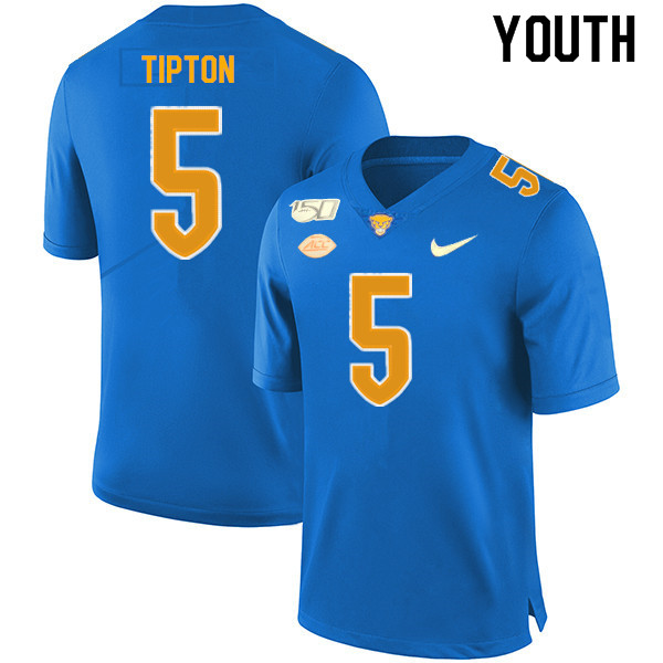 2019 Youth #5 Tre Tipton Pitt Panthers College Football Jerseys Sale-Royal