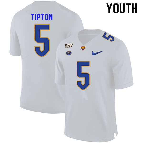 2019 Youth #5 Tre Tipton Pitt Panthers College Football Jerseys Sale-White