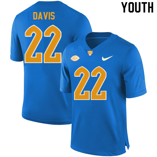 Youth #22 Vincent Davis Pitt Panthers College Football Jerseys Sale-New Royal